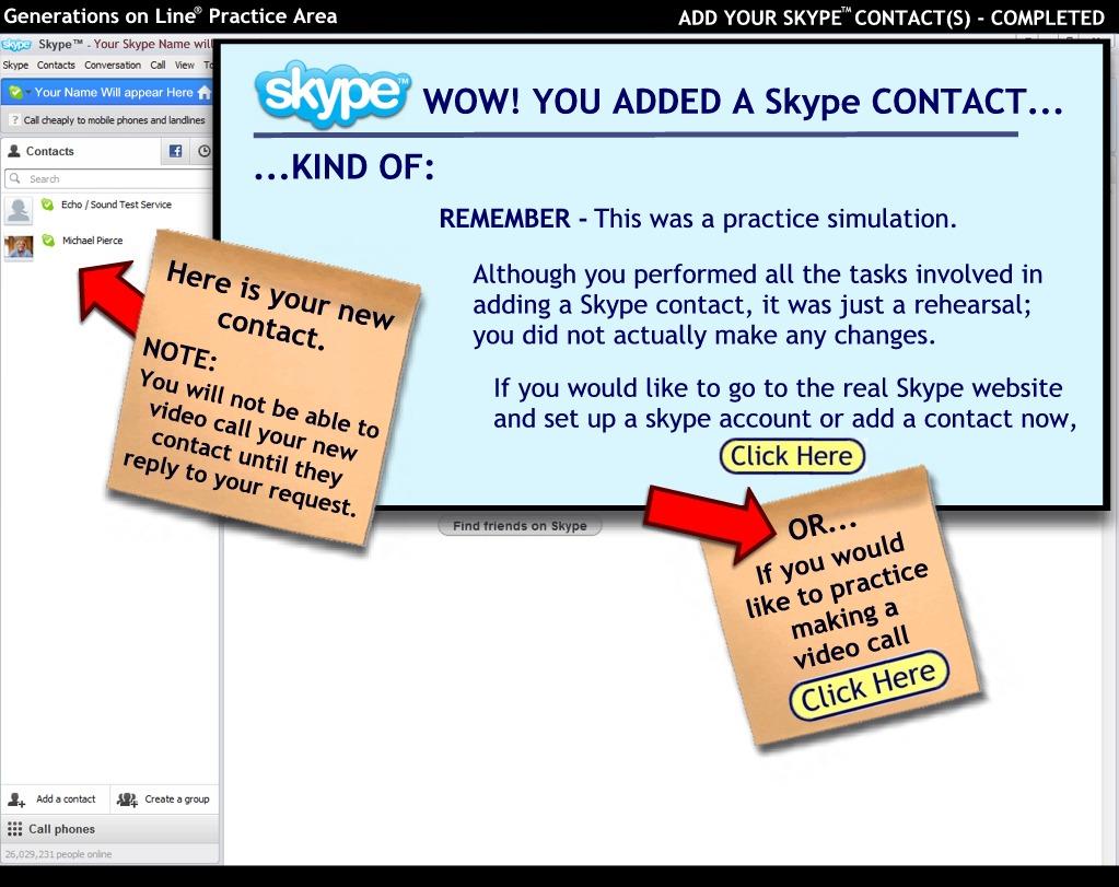 Generations on Line Practice Area - Skype